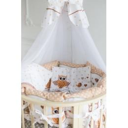Детское постельное белье Баю Бай Раздолье бежевый в круглую/овальную кроватку 9 предметов