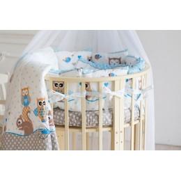 Детское постельное белье Баю Бай Раздолье голубой в круглую/овальную кроватку 9 предметов