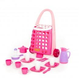 Забавная тележка + набор детской посуды (31 элемент)